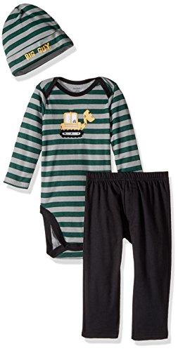 Gerber Baby 3 Piece Bodysuit, Cap and Pant Set, Bull Dozer, 3-6 Months