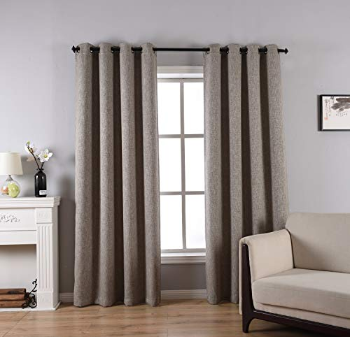 (Faux Linen Curtains for Livingroom,Thermal Insulated Grommet Top Blackout Window Curtain Panel 1 Pair Wide 52