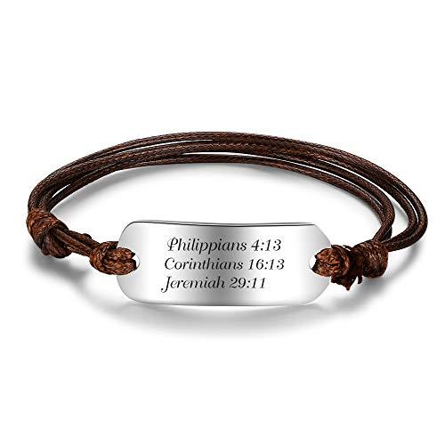 Personalized Stainless Steel Bracelets for Women Custom Name Bar Bangle Engraved Bracelets for Men Gifts for Boyfriend