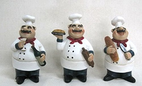 Amazon Com Set Of 3 Fat Chef Statues Kitchen Decoration Italian Bistro Cooking D64199 Home Kitchen
