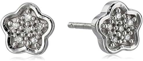 Sterling Silver White Diamond Flower Button Stud Earrings