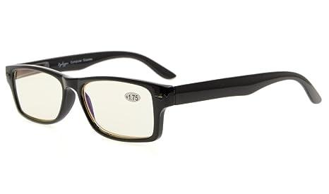 amcedar ordenador gafas hombres de material marco primavera bisagras, luz ámbar lente reducir Protector de luz azul y Glare, UV Protección…