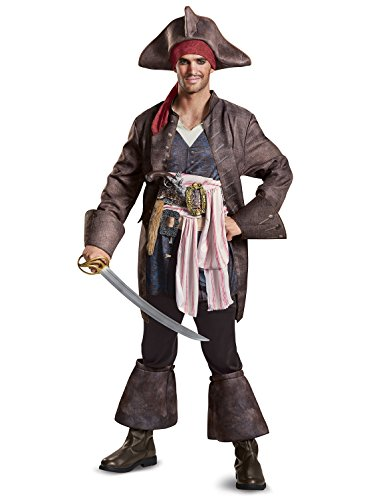 Disguise Men's Plus Size POTC5 Captain Jack Sparrow Deluxe Adult Costume, Brown, XX-Large -