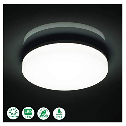 Airand 5000K LED Ceiling Light Flush Mount 18W 1650LM Round LED Ceiling Lamp for Kitchen, Bedroom, Bathroom, Hallway, Stairwell, 9.5, Waterproof IP44, 80Ra, 150W Equivalent (Daylight White)