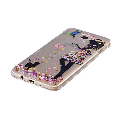 Funda Samsung Galaxy J7 Prime Prima Transparente Cáscara(con Gratis Lápiz óptico Negro),KaseHom Cristal Claro Alta Calidad Slicona Choque Absorción Protección Caja Suave Flexible TPU Parachoques Gel E La Muchacha Florece el Gato