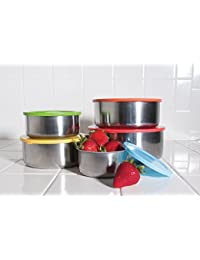 Purchase 10 Pcs Stainless Steel Mixing Bowls or Food Storage Containers Set with Colored Lids offer