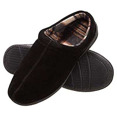 Heat Edge Mens Memory Foam Suede Slip On Indoor/Outdoor Clog Slipper Shoe