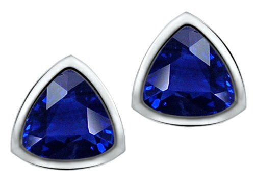 Sapphire Trillion Earrings - Star K 7mm Trillion Cut Created Sapphire Earrings Studs Sterling Silver