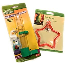 Wild Harvest Bird Tube Feeder bundled with Bird Toy for Parakeet