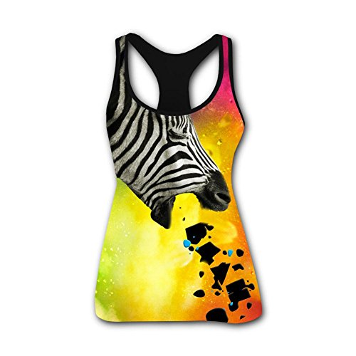Womens Tank Tops Creative Vomiting Zebra Casual 3D Vest Sleeveless Shirt