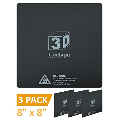 3D Printing Build Surface 8'' x 8'' (203mm x 203mm) 1mm Thick, 3D Printer Build Plate Heat Bed Platform Sticker Sheet with 3M Adhesive, Black (Pack of 3) by LinLam
