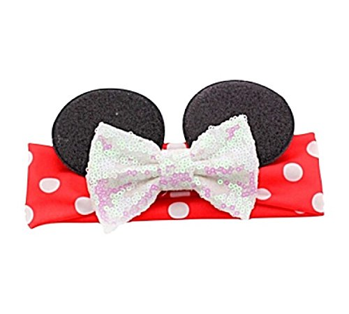 Minnie Mouse Elastic Headwrap Headband With Sequin Bow for Baby And Toddlers (White Sequin Bow) (Unique Baby Headbands)