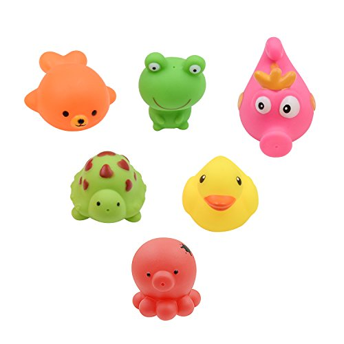 Moogogo Water Spray Pool Tub Soft Squirt Fun Bath Toys for Kids Toddlers Little Animals Set of 6 (Animals)