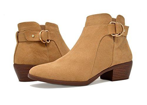 Women's Side Cowboy TOETOS Block Booties natural Heel Suede Ankle Zipper 03 fawqgdw