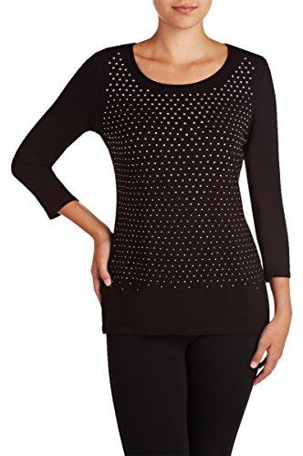 Nygard Women's Regular Slims Embellished 3/4 Sleeve Top Black ()