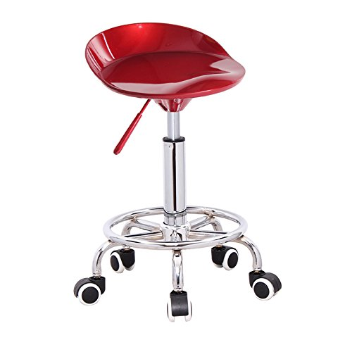 ABS paint material, front up and down bars, fashion stool chairs, European bar stool, bar backrest chair ( Color : Red-B , Style : Pulley type ) by Xin-stool