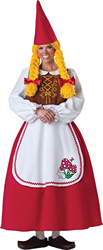 Mrs Garden Gnome Costumes (GTH Women's Comical Deluxe Mrs. Garden Gnome Adults Halloween Costume, S (4-6))
