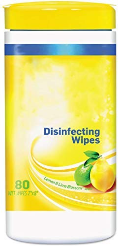 Multipurpose Wipes Lemon Scent   Advanced Lemon Lime Blossom Cleaning Wipes, 80 Count Canister