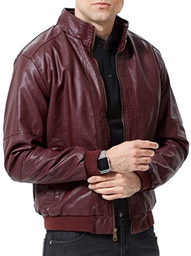 sunseen Men's Fur Lined Faux Leather Jacket Warm Casual Business Vintage Coat Outdoor Bomber Biker Motorcycle Outerwear (Wine Red, S) (Jackets Like Leather)
