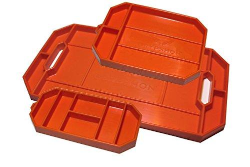 Grypmat | Non-Slip Flexible Orange Tool Tray | Tool Box Organizer | Socket Organizer | Tool Holder | Tool Mats | No Magnets | Grip Mat Tool Mat | Easy Clean Up | As Seen On Shark Tank (Trio Pack)