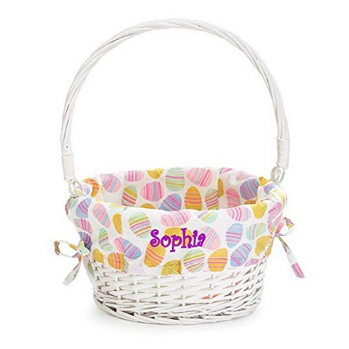 Personalized Easter Egg Basket with Pastel Liner (Easter Egg (Personalized Easter Basket)