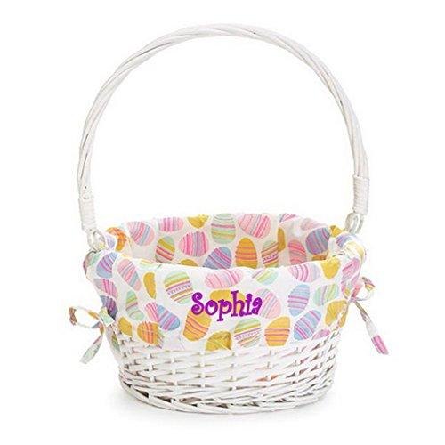Personalized Easter Egg Basket with Pastel Liner (Easter Egg - Pattern Easter Basket