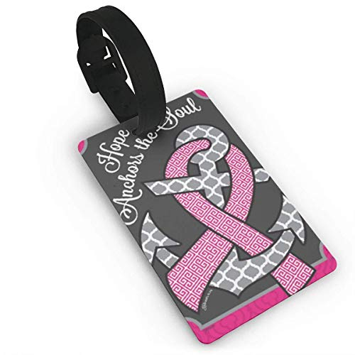 Mrsangelalouise Landing Luggage Tags Hope Anchors Breast Cancer Pink Ribbon Awareness Suitcase Luggage Tags Travel Accessories Baggage Name Tags Size 3.7 X 2.2 Inches