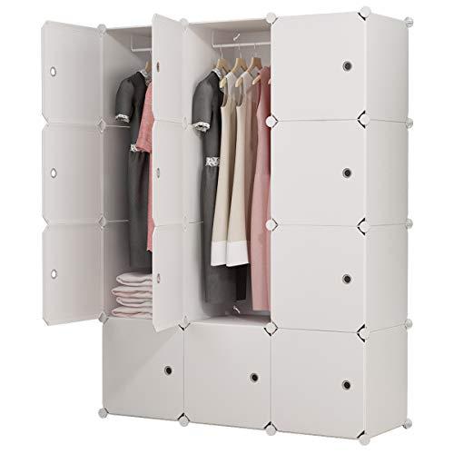 KOUSI Portable Closet Portable Clothes Closet Wardrobe Bedroom Armoire Dresser Cube Storage Organizer, Capacious & Customizable, White, 6 Cubes+2 Hanging Sections