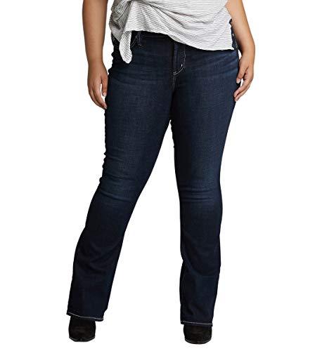 - Silver Jeans Co. Women's Plus Size Avery Curvy Fit Slim Bootcut Jeans, Power Stretch Dark Indigo 26x31