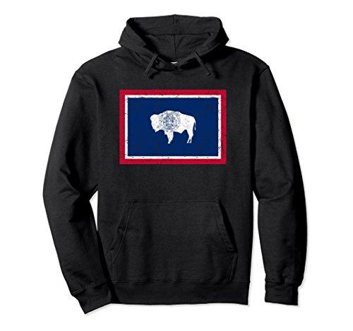 Unisex Wyoming Distressed State Flag Hoodie Xl  Black