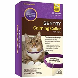SENTRY Calming Collar for Cats, Up to 15-Inch Neck, Includes Three Cat Calming Collars, Lavender Chamomile Fragrance 16