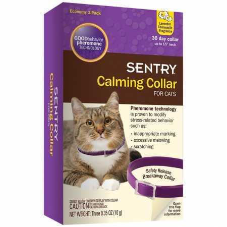 SENTRY Calming Collar for Cats, Up to 15-Inch Neck, Includes Three Cat Calming Collars, Lavender Chamomile Fragrance