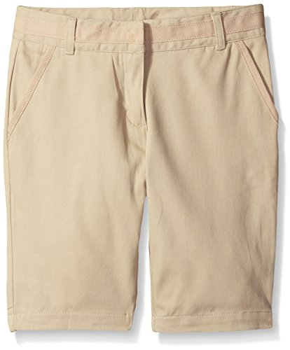 (Nautica Girls Plus Size' School Uniform Skinny Twill Bermuda Short, Khaki, 18.5)