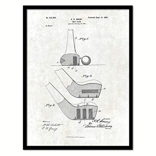 1899 Golf Club Vintage Patent Canvas Print, Art, Urban, Modern, Great for Office, Home, Gifts Ideas, Home Decor, Ready to Hang, Black Framed, 7