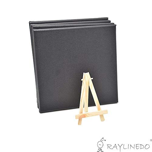 RayLineDo Set of 4pcs Mini Artist Black Canvas Frame 8x8inch (20x20cm) Oil Water Painting Board Flat Canvas with 1pc Mini Wood Display Easel [並行輸入品]   B07T9S1XSX