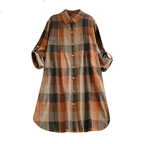 Alimao 2018 Autumn Dress For Women Retro Plaid Turn-down Collar Casual Button Long Dress Mini Shirt Dress Khaki