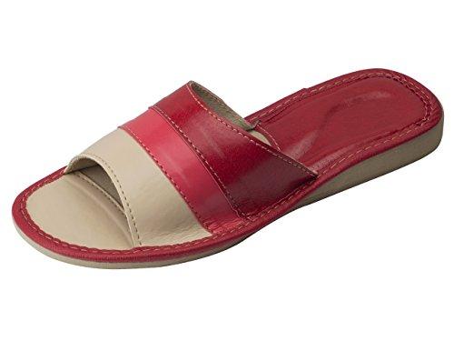 aveego - Zapatillas de estar por casa de Otra Piel para mujer Red Open Toe