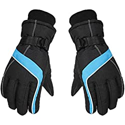 Unisex Winter Gloves Waterproof Anti-Slip Outdoor Sports Warm Thermal Velvet Ski residentD (Blue)
