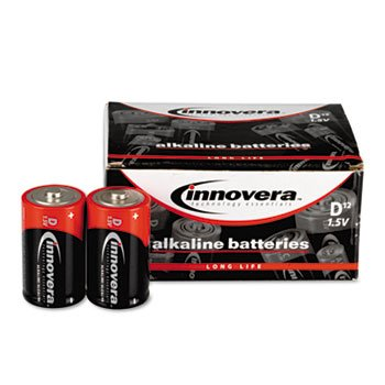 3 Pack Alkaline Batteries, D, 12 Batteries/Pack by INNOVERA (Catalog Category: Office Equipment & Equipment Supplies / Batteries)