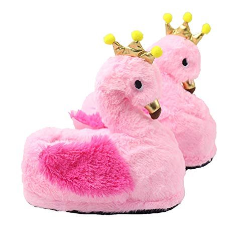 Funkeet Flamingo Slippers Winter Plush Stuffed Animals Slippers House Indoor Shoes for Toddlers Kids ()