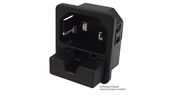 Pack of 5 IEC Appliance Inlet C14 with Fuseholder Screw-On Mounting Power Entry Connector 6220 Series, 6220.2300