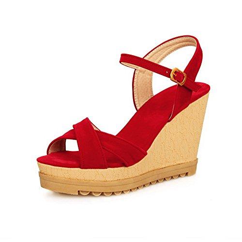 Amoonyfashion Donna Open Toe Tacchi Alti Sandali Con Fibbia In Rosso