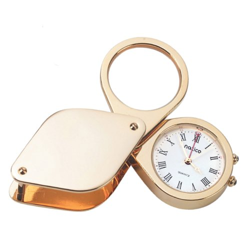 Natico Solid Brass and Gold Plated  Travel aalrm Clock with Magnifier and Genuine Leather Case (10-875) (Solid Case Clock Brass)