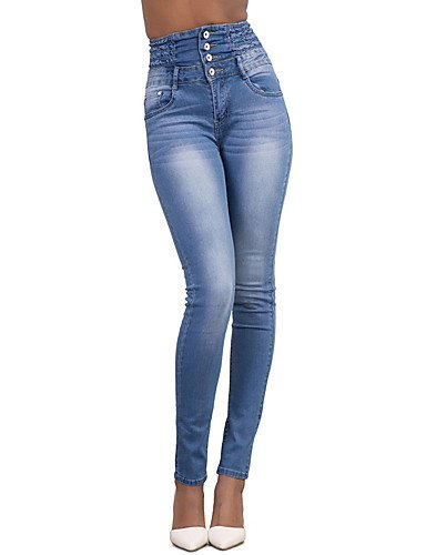 Femme Rise Pantalon Chic Couleur Street Printemps Et Holiday High Jeans Mode Sortir Solide Blue Skinny YFLTZ Ppdftxt