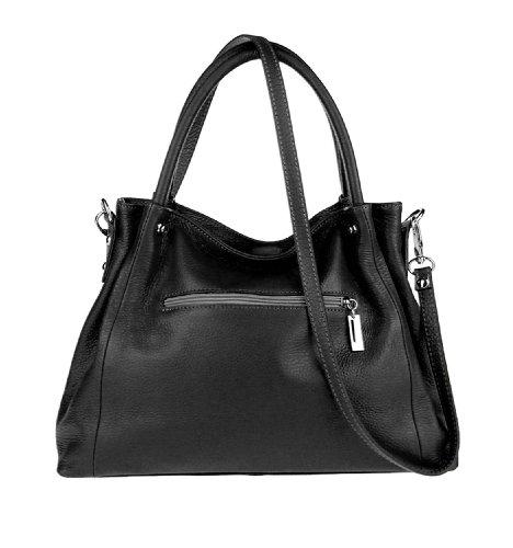 Made Italy - Bolso cruzados de cuero para mujer 37x27x13 cm (BxHxT) negro