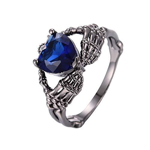 Eejart Black Irish Claddagh Friendship & Love Gothic Ring, Holding Heart Cubic Zirconia Skull Wedding Engagement Ring for Women (black+blue, 9)
