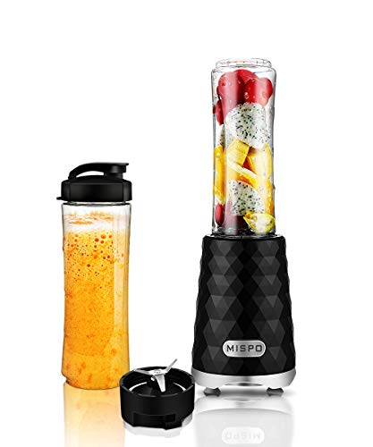 MISPO Personal Blender Juicer for ice, shake, Smoothie, Frozen Fruit and Vegetable Juice, with 20oz(600ml) Portable Bottle and Travel Lid (FDA, BPA Free)