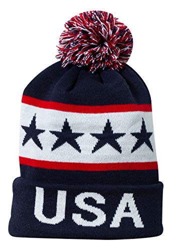 USA United States of America Patriotic Winter Knit Pom Pom Beanie Hat with Cuff (Blue)