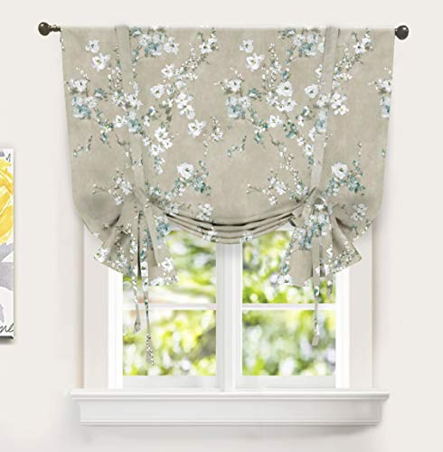 - DriftAway Mackenzie Tie Up Curtain Blossom Floral Pattern Room Darkening Thermal Insulated Window Curtain Adjustable Balloon Curtain for Small Window Rod Pocket 45 Inch by 63 Inch Blue Gray