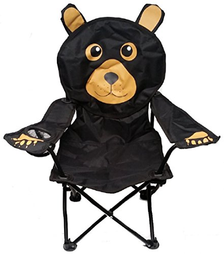 Wilcor Kids Black Bear Folding Camp Chair with Cup Holder and Carry Bag ()